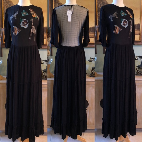 0c161491 Zara Dresses | New Basic Animal Embroidered Maxi Dress Small | Poshmark